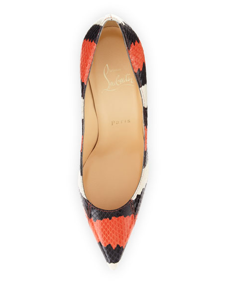 Decollette Striped Snakeskin Pump, Black/Orange