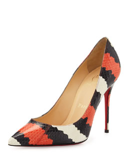 Christian Louboutin Decollette Striped Snakeskin Pump, Black/Orange