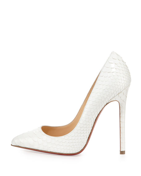 Pigalle Python Point-Toe Red Sole Pump, White