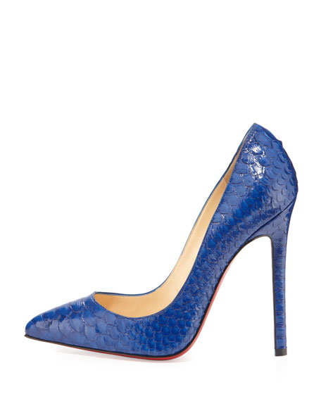 Pigalle Python Point-Toe Red Sole Pump, Blue