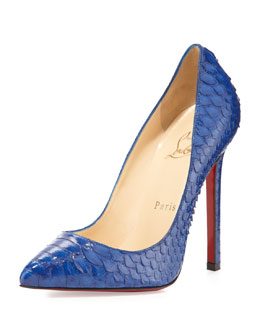 Christian Louboutin Pigalle Python Point-Toe Red Sole Pump, Blue