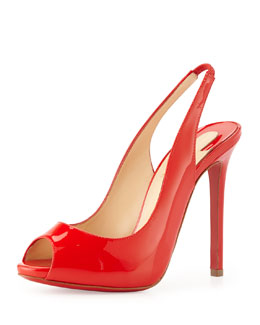Christian Louboutin Flo Sling Patent Peep-Toe Red Sole Pump, Red