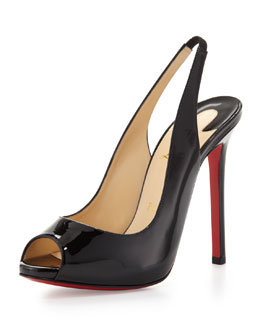 Christian Louboutin Flo Patent Red Sole Slingback, Black
