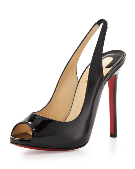 Flo Patent Red Sole Slingback, Black