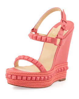 Christian Louboutin Cataclou Studded Wedge Sandal, Pink