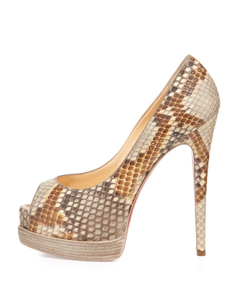 Palais Royale Python Red Sole Pump, Beige