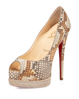 Christian Louboutin Palais Royale Python Red Sole Pump, Beige