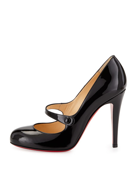 Charleen Mary Jane Red Sole Pump, Black
