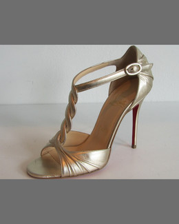 Christian Louboutin Jazzy Doll Braided Metallic Red Sole Sandal, Gold