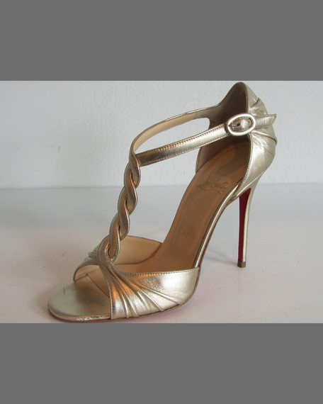 Jazzy Doll Braided Metallic Red Sole Sandal, Gold