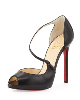 Christian Louboutin Grolili Cross-Strap Peep-Toe Pump, Black