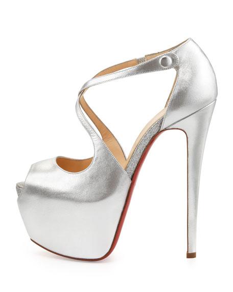 Exagona Metallic Crisscross Platform Red Sole Sandal, Silver