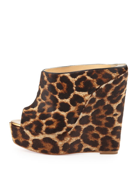 Affiche Leopard-Print Wedge Slide, Animal