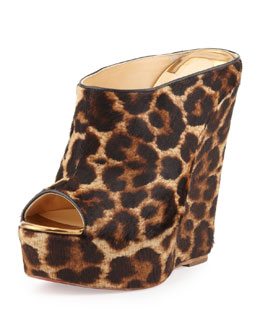 Christian Louboutin Affiche Leopard-Print Wedge Slide, Animal
