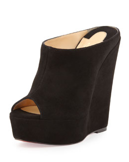 Christian Louboutin Affiche Peep-Toe Wedge Slide, Black