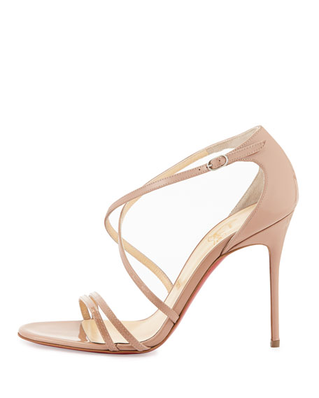 Christian Louboutin Gwynitta Patent Crisscross Red-Sole Sandal, Nude