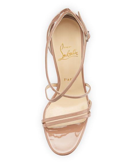 Gwynitta Patent Crisscross Red-Sole Sandal, Nude