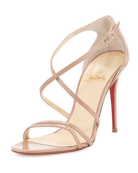 Gwynitta Patent Crisscross Red-Sole Sandal, Nude