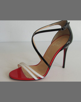 Christian Louboutin Gwynitta Patent Crisscross Red-Sole Sandal, Black