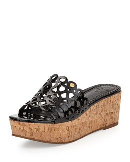 Tory Burch Dunn Patent Scroll Platform Slide