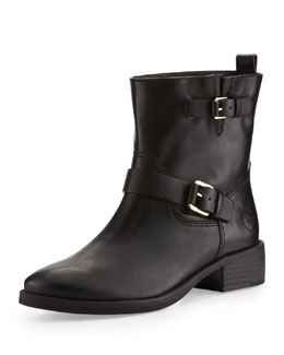 Tory Burch Bennie Buckled Short Moto Boot