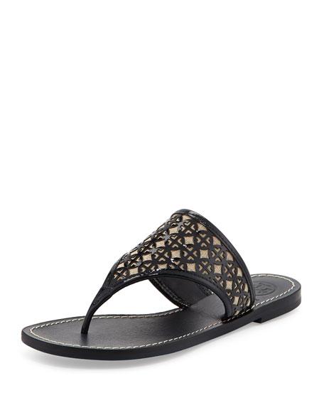 Amara Laser-Cut Patent Thong Sandal,  Navy/Natural