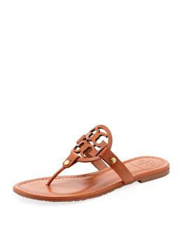 Tory Burch Miller Logo Flat Thong Sandal, Vachetta