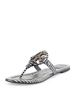 Tory Burch Miller Striped Logo Thong Sandal