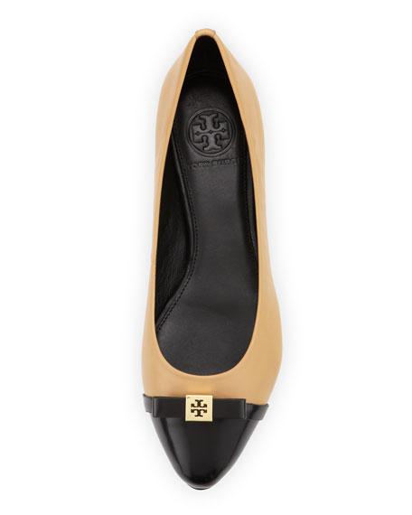 Hugo Point-Toe Ballerina Flat, Wheat/Black