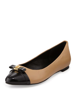 Tory Burch Hugo Point-Toe Ballerina Flat, Wheat/Black