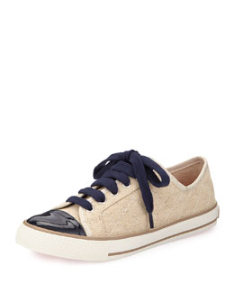 Tory Burch Capse Quilted Canvas Sneaker, Natura/Navy
