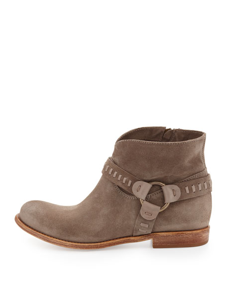 Sofia Woven-Harness Bootie, Olive