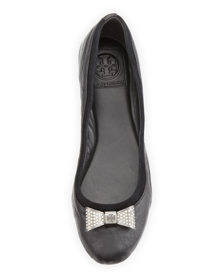 Jolene Crystal-Bow Ballet Flat, Black