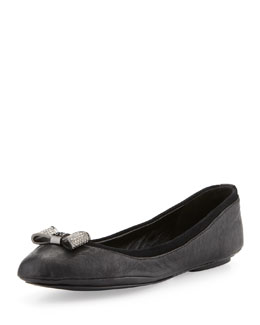 Tory Burch Jolene Crystal-Bow Ballet Flat, Black