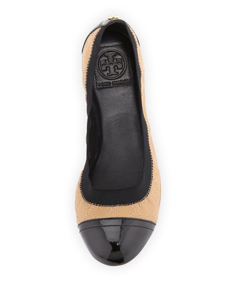 Bridgette Cap-Toe Ballerina Flat, Wheat/Black