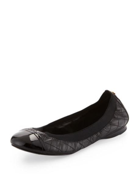 Bridgette Cap-Toe Ballerina Flat, Wheat/Black