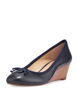 Tory Burch Chelsea Leather Ballet Wedge, Navy