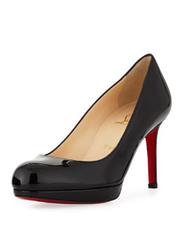 Christian Louboutin New Simple Patent Platform Red Sole Pump, Black