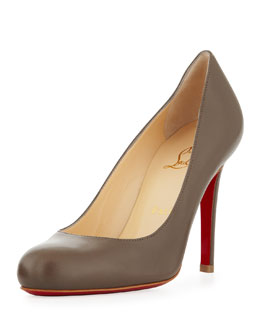 Christian Louboutin Simple Round-Toe Kidskin Red Sole Pump, Taupe