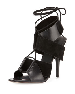 Alexander Wang Malgosia Leather & Suede Sandal, Black