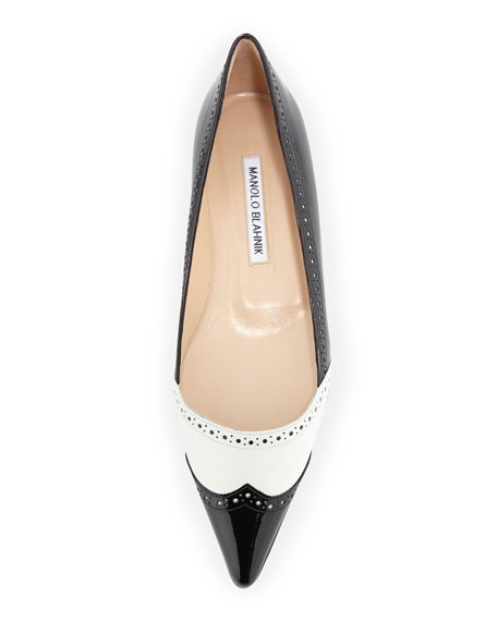 Agaflat Patent Wing-Tip Ballerina, Black/White