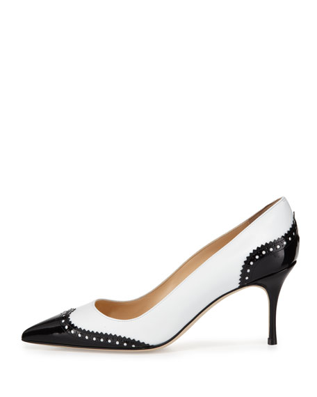 Ancor Leather Wing-Tip Spectator Pump, Black/White