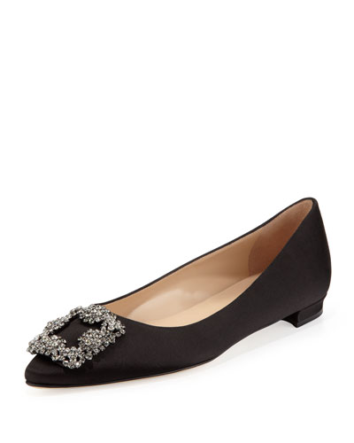 Manolo Blahnik Hangisi Crystal-Buckle Satin Flat, Black