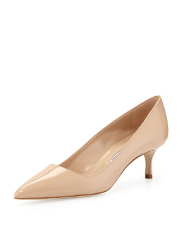 Manolo Blahnik BB Patent 50mm Pump, Nude