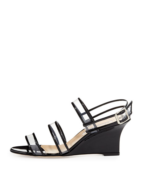 Meta Patent & PVC Wedge Sandal, Black