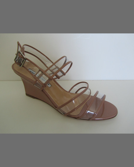 Meta Patent & PVC Wedge Sandal, Black