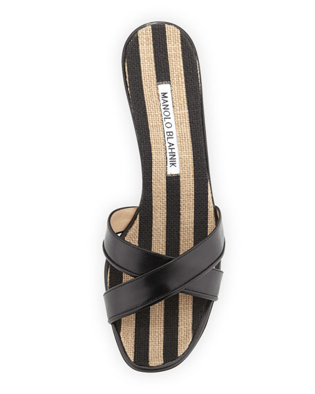 Sacha Striped Wedge Slide, Black