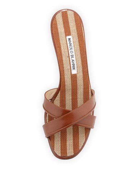 Sacha Striped Wedge Slide, Caramel