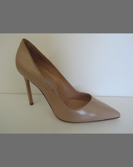 Manolo Blahnik BB Suede 105mm Pump, Flesh