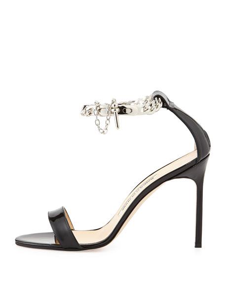 Manolo Blahnik Chaos Patent Chain-Wrap Sandal, Black